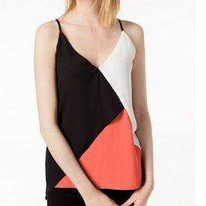 Bar III Hibiscus Bloom Colorblocked V-Neck Cami